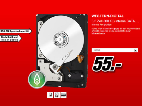 Western Digital Caviar Green SATA II 500GB (WDBAAY5000ENC) © Media Markt
