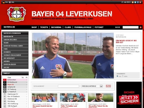 Bayer 04-TV © Bayer Leverkusen