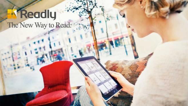 Frau mit Readly-App ©Readly