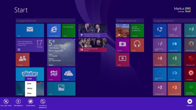 Windows 8.1. Kachelgr��e �ndern © COMPUTER BILD