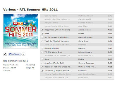 RTL Sommer Hits 2011 – Various © Juke, SONY MUSIC MEDIA