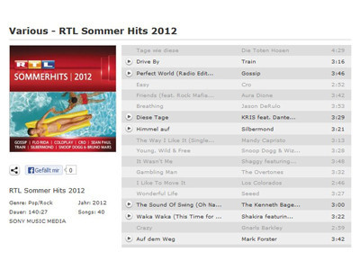 RTL Sommer Hits 2012 – Various © Juke, SONY MUSIC MEDIA