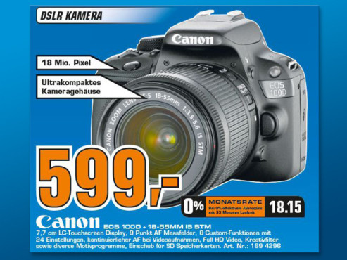 Canon EOS 100D Kit 18-55 mm [Canon IS STM] © Saturn