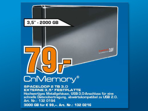 CnMemory 3.5 Spaceloop USB 3.0 2TB © Saturn