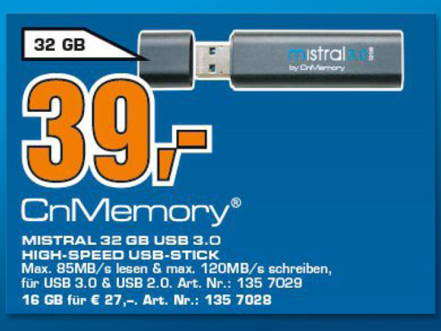 CnMemory Mistral USB 3.0 32GB © Saturn