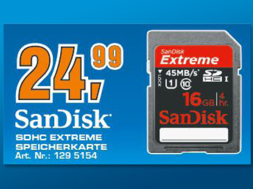 Sandisk Extreme HD Video SDHC 16GB Class 10 UHS-I (SDSDX-016G) © Saturn