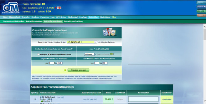 Browserspiel �Online Fussball Manager�: Friendly © Online Fussball Manager