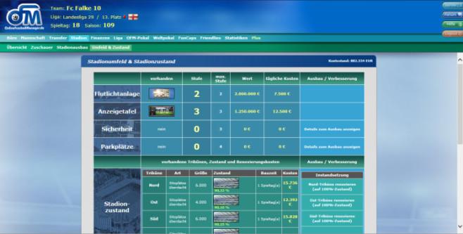 "Browserspiel ""Online Fussball Manager"": Stadionausbau ©Online Fussball Manager"