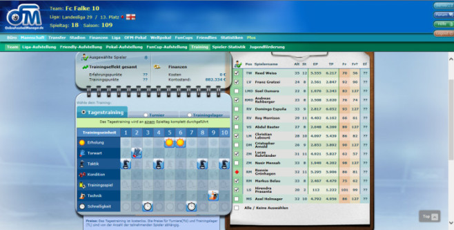 Browserspiel �Online Fussball Manager�: Training © Online Fussball Manager