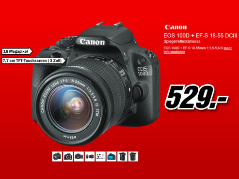 Canon EOS 100D Kit 18-55 mm [Canon DC III] © Media Markt