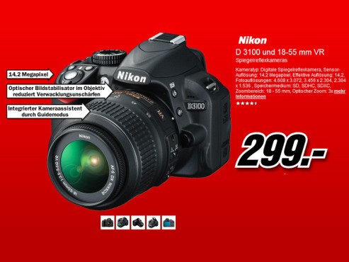Nikon D3100 Kit 18-55 mm [Nikon VR] © Media Markt