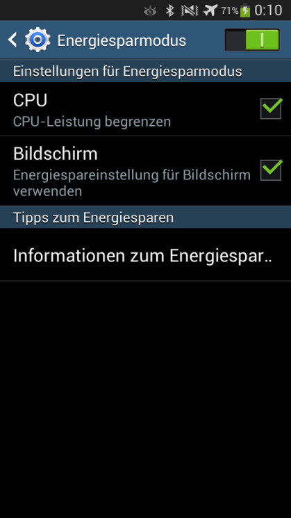 energie sparen android