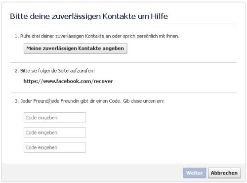Facebook-Konto freischalten ©Facebook