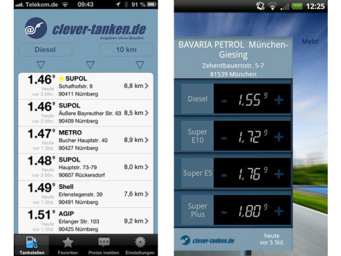 Screenshot iOS- und Android-App © clever-tanken.de