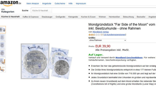 "Mondgrundstück ""Far Side of the Moon"" © Amazon"