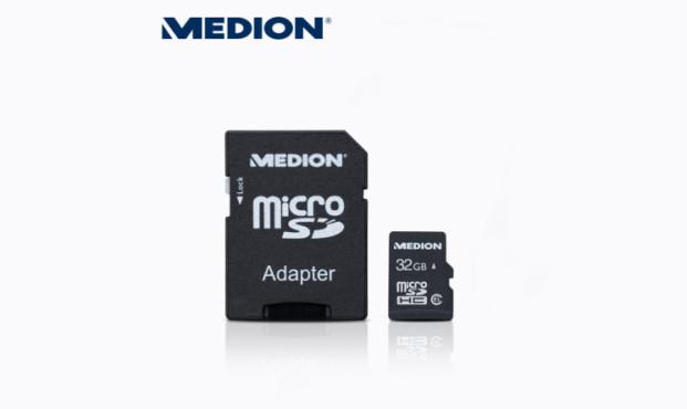 Medion P89158 (MD 86983) microSDHC-Karte inkl. SD-Adapter ©Aldi Nord