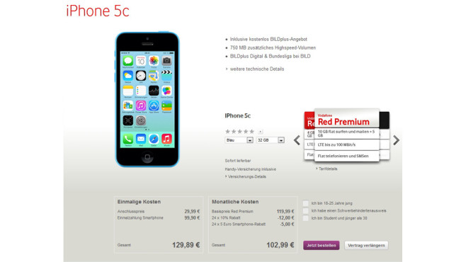 Vodafone-Vertrag (24 Monate) mit iPhone 5C © Vodafone