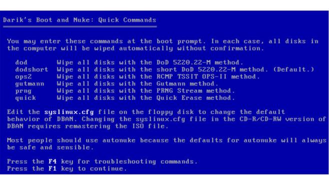 DBAN (Darik's Boot and Nuke): Festplatte vollständig löschen ©COMPUTER BILD