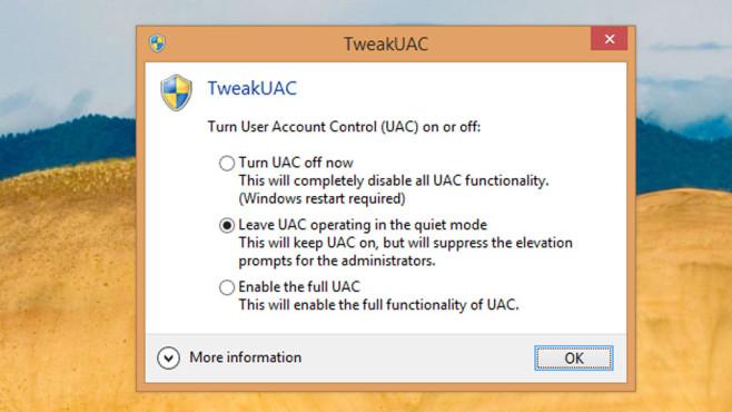 TweakUAC: Benutzerkonten-Steuerung einschalten ©COMPUTER BILD