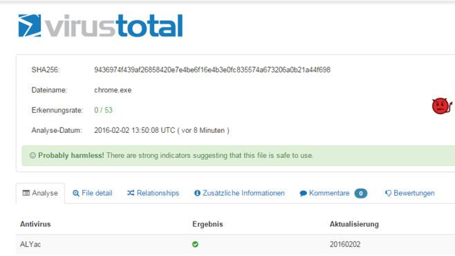 VirusTotal Scanner: Dateien gründlich auf Viren prüfen ©COMPUTER BILD