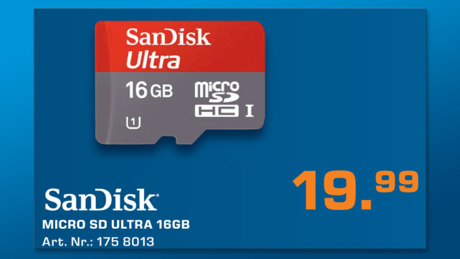 Sandisk Mobile Ultra microSDHC 16GB Class 10 UHS-I (SDSDQU-016G) © Saturn