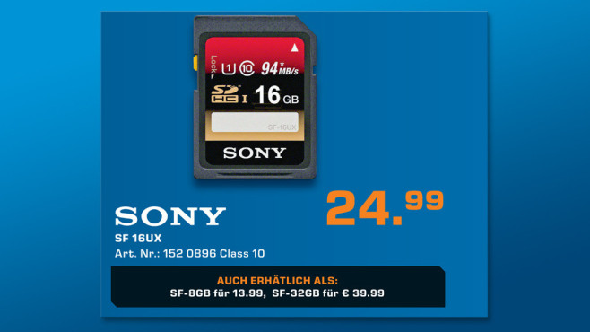 Sony SDHC 16GB Class 10 UHS-I (SF16UX) © Saturn