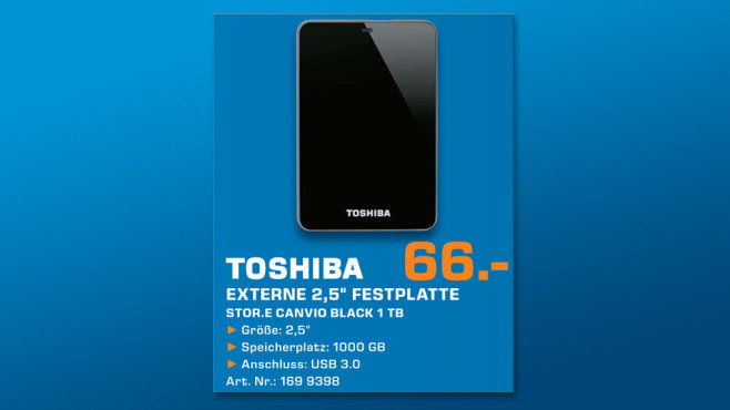 Toshiba StorE Canvio 1TB schwarz (HDTC610EK3B1) ©Saturn