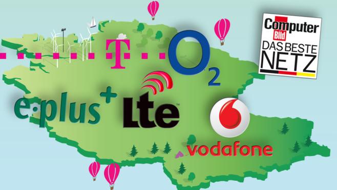 COMPUTER BILD-Netztest 2013 ©Statista, Telekom, O2, E-Plus, LTE, Vodafone, COMPUTER BILD