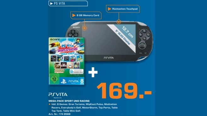 Sony PlayStation Vita Wi-Fi + PS Vita Mega Pack + Speicherkarte 8GB © Saturn