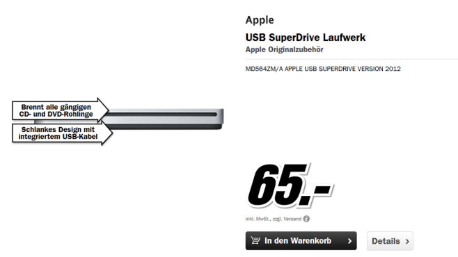 Apple USB SuperDrive MD564ZM/A © Media Markt
