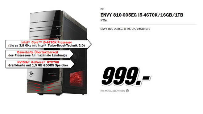 Hewlett-Packard HP Envy 810-005EG I5-4670K © Media Markt