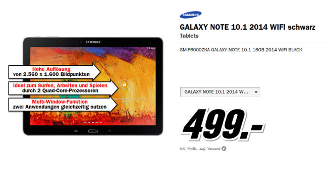 Samsung Galaxy Note 10.1 16GB WiFi schwarz (2014 Edition) © Media Markt