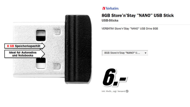 Verbatim Store 'n' Stay Nano USB 2.0 8GB © Media Markt