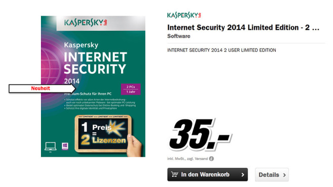 Kaspersky Internet Security 2014 © Media Markt