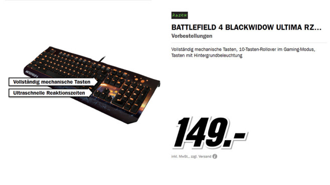 Razer BATTLEFIELD 4 BLACKWIDOW ULTIMATE © Media Markt