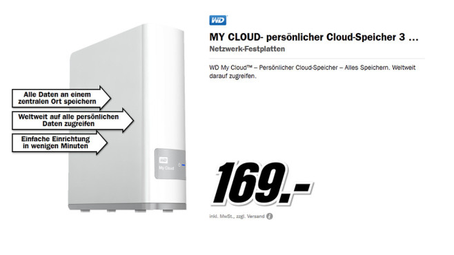Western Digital MY CLOUD 3 Terabyte © Media Markt