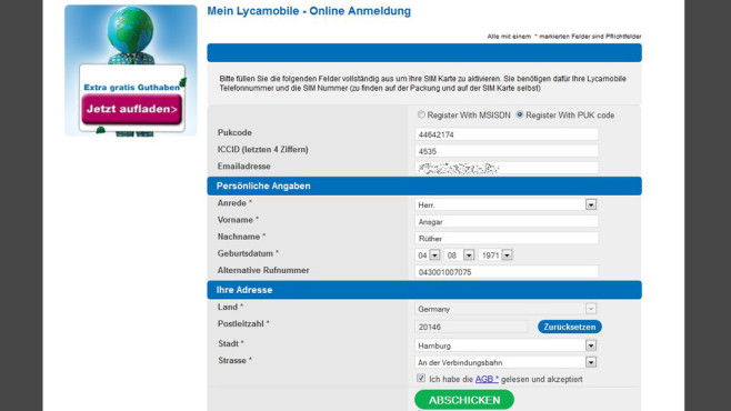 Registrierung Lycamobile © Lycamobile