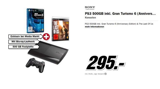 Sony Playstation 3 500 Gigabyte inkl. Gran Turismo 6 und The Last of Us © Media Markt
