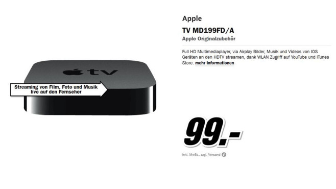 Apple TV MD199FD/A © Media Markt