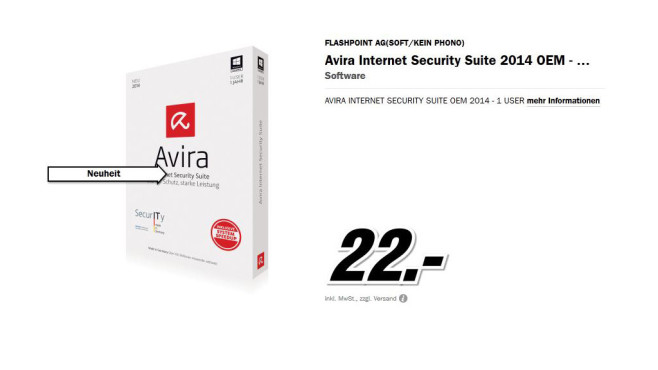 Avira Internet Security Suite 2014 OEM © Media Markt