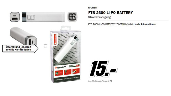 Iconbit FTB 2600 LI-PO Batterie © Media Markt