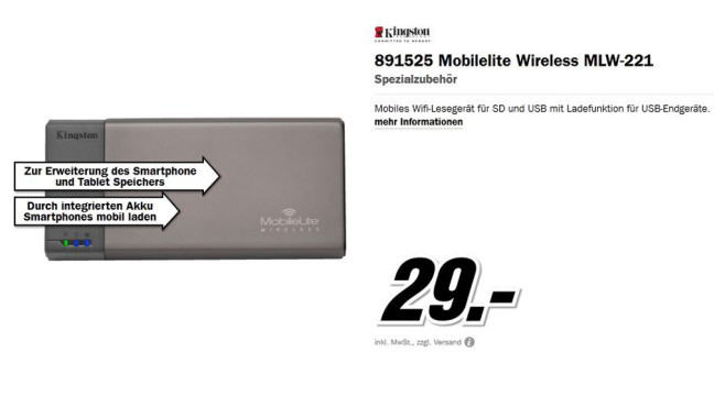 Kingston 891525 Mobilelite Wireless MLW-221 © Media Markt
