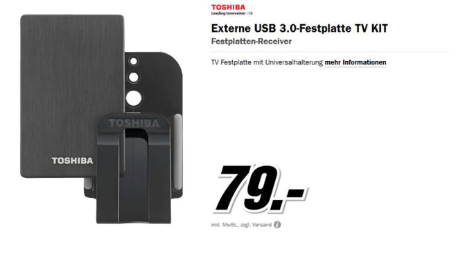 Toshiba Externe USB 3.0-Festplatte TV Kit © Media Markt