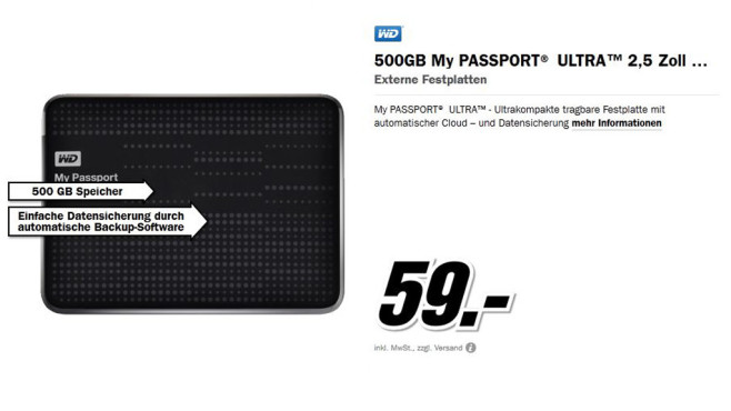 WD 500GB My Passport Ultra 2,5 Zoll © Media Markt