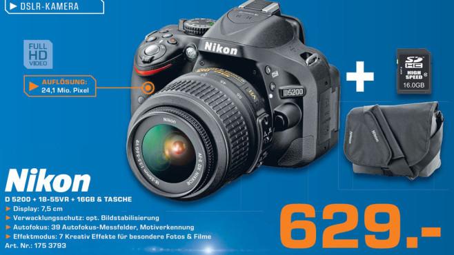 Nikon D 5200 + 18-55VR Objektiv + 16 Gigabyte SDHC + Tasche ©Saturn