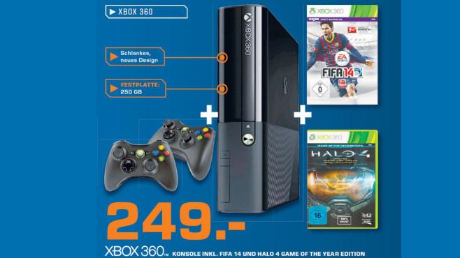 Xbox 360 inklusive Fifa und Halo 4 GOTY ©Saturn