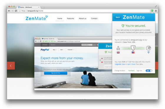 Zenmate im Chrome-Browser © Zenmate