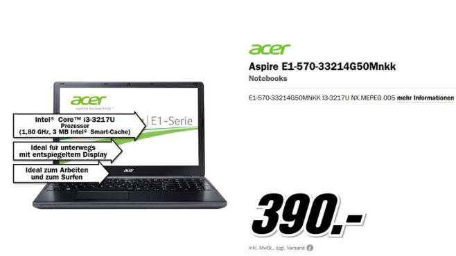 Acer Aspire E1-570-33214G50Mnkk ©Media Markt