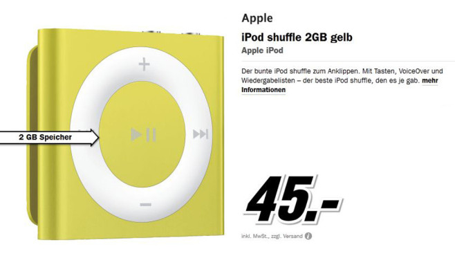 Apple iPod shuffle 2GB © Media Markt