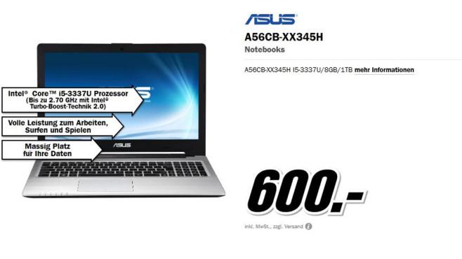 Asus A56CB-XX345H ©Media Markt